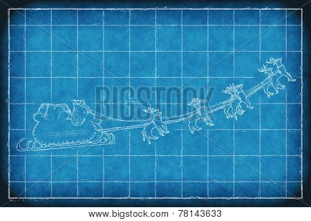 Blueprint greeting card cover of Santa Claus riding a sleigh led by reindeers