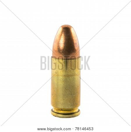 poster of Size 9 mm bullets isolated on white background.