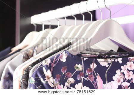 Female Clothes Collection On Hangers In Fashion Boutique Store