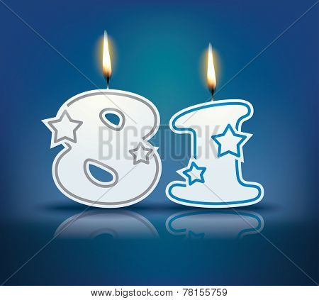 Birthday candle number 81 with flame - eps 10 vector illustration
