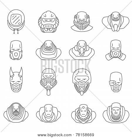 face people icons vector outline
