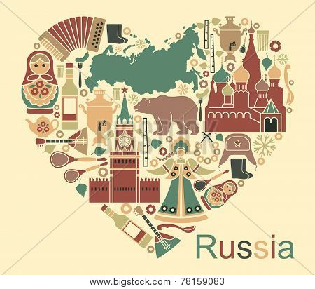 Symbols of Russia in the form of heart