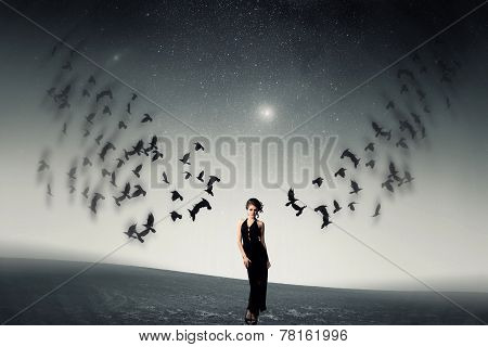Girl And A Flock Of Crows