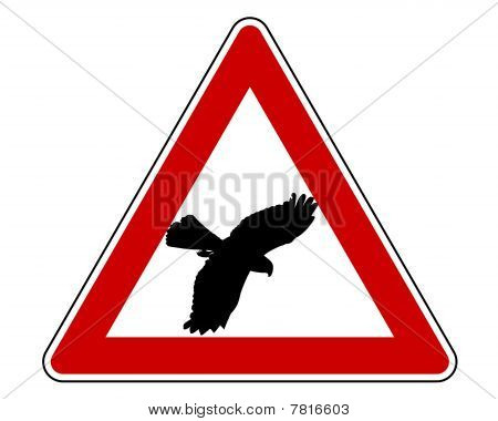 Detailed and colorful illustration of bird swoop warning sign poster