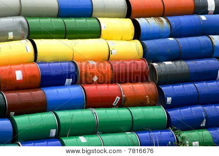 Stacked Oil Barrels