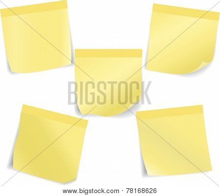 Set Of Yellow Sticky Notes. Vector Illustration