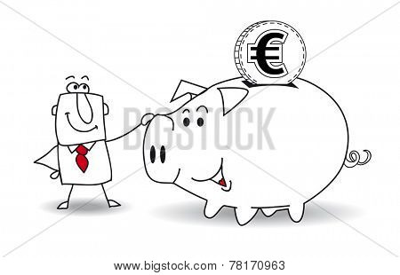 Piggy bank and euro. This business man saves money in his Piggy bank . It's a metaphor. It's a good plan for the future
