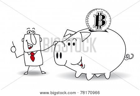 Piggy bank and bitcoin. This business man saves money in his Piggy bank . It's a metaphor. It's a good plan for the future