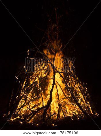 the close-up view of big campfire in the dark poster
