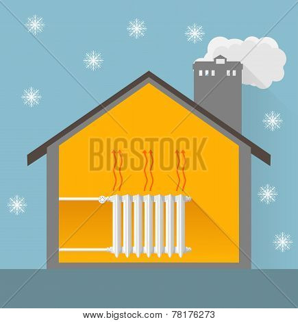 winter house with warm heater