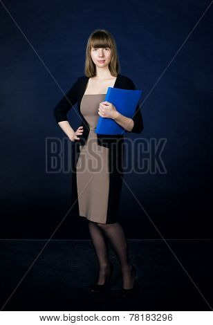Woman with folder in business suit