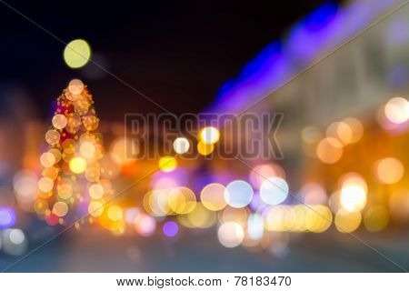 Abstraction Of Blured Christmas Tree