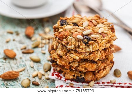 Homemade oatmeal cookies with seeds and raisin