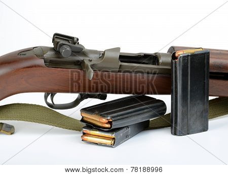 M1 Carbine On White Background.