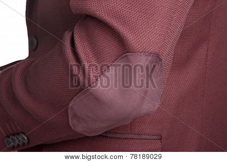 Dark Red Suit Jacket For Men, A Patch On The Elbow.