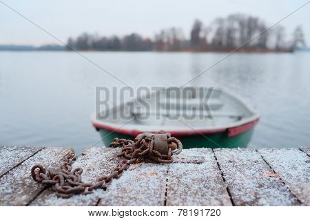 image of a pair-oar boat at a berth
