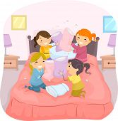 Illustration of Girls in a Slumber Party Having a Pillow Fight poster