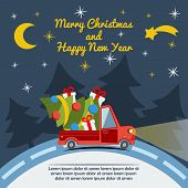 Christmas and New Year greeting card with delivery van carry a Christmas tree and gifts goes on winter road in Xmas eve. Template vector concept. poster