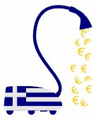 Detailed and colorful illustration of greek vacuum cleaner with european euros poster