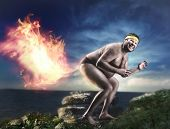 Bizarre naked man farts flame poster