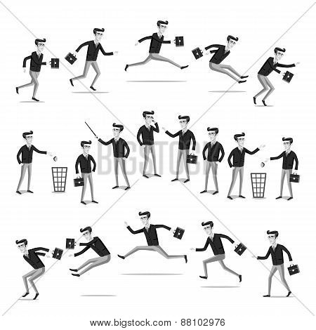 Business Flat Web Infographic Vector Grey Men People