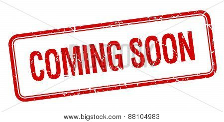 Coming Soon Red Square Grungy Vintage Isolated Stamp