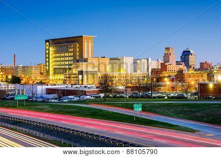 Durham, North Carolina, USA downtown city skyline.