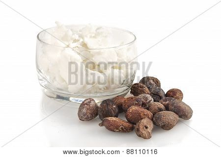 Shea Nuts Near Butter On White Background