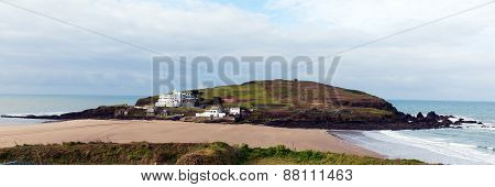 Burgh Island South Devon England UK near Bigbury-on-Sea and Challaborough panorama