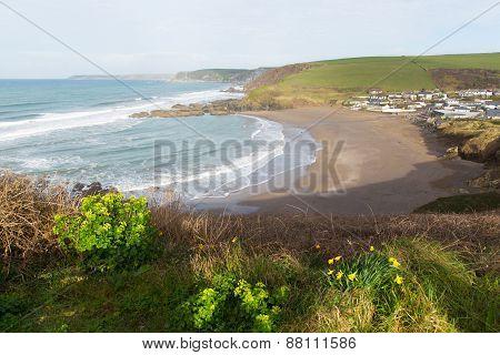 Challaborough bay South Devon England uk popular surfing destination near Burgh Island and Bigbury