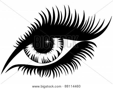 Female Eye Black Silhouette