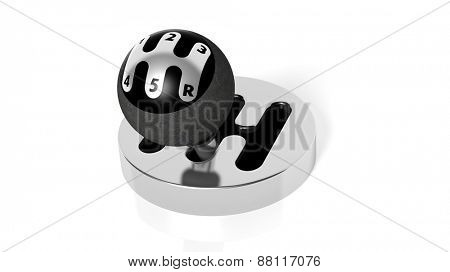 Car gearshift, isolated on white background