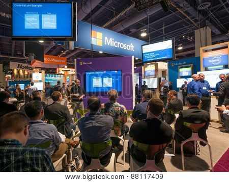 LAS VEGAS, NV - April 15: Presentation at Microsoft booth at NAB Show 2015 exhibition in Las Vegas, NAB Show is an annual trade show produced by the National Association of Broadcasters.