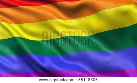 Rainbow flag waving in the wind