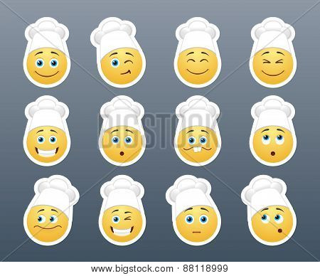 Smileys In White Caps
