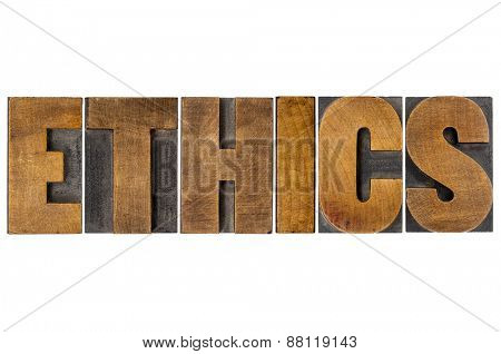ethics word typography - isolated text in letterpress wood type printing blocks