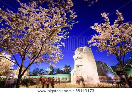 WASHINGTON - APRIL 12, 2015: Crowds gather under the memorial to the civil rights leader Martin Luther King, Jr. in West Potomac Park.