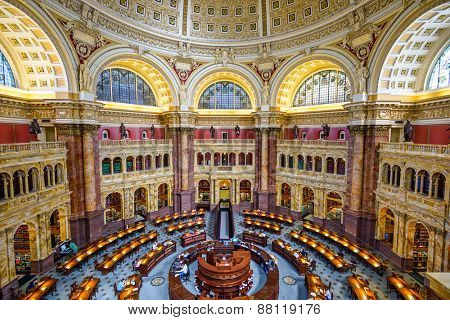 WASHINGTON - APRIL 12, 2015: The Library of Congress in Washington. The library officially serves the U.S. Congress.