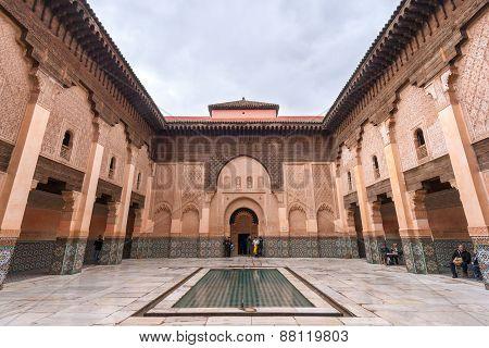 MARRAKECH, MOROCCO - JAN 27, 2010: Interior view of the Ali Ben Youssef Madrassa in Marrakech