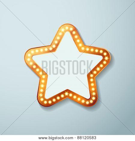 Retro Cinema Bulb Sign Star Shape