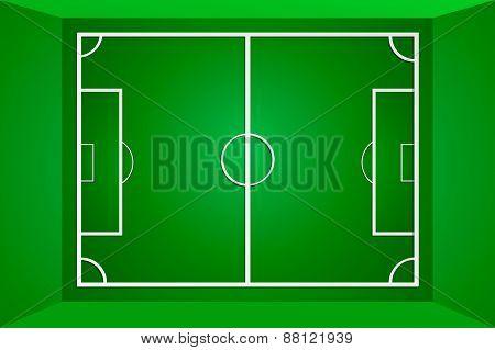 Vector green soccer field or football field, gridiron