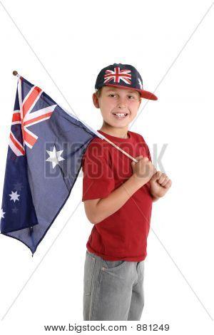 Patriotic Child Holding An Aussie Flag