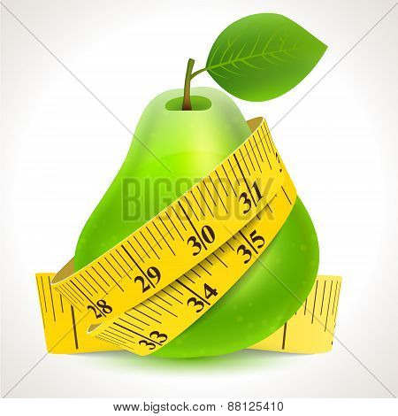 Green pear with yellow measuring tape