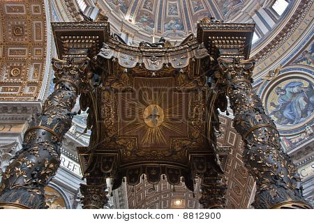 Detail of Bernini's baroque baldachin in St Peter's Basilica Rome Italy poster