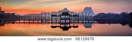 Amazing Park Landscape Panorama At Sunrise