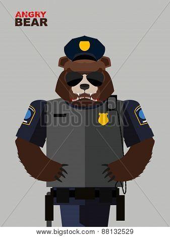 Bear police officer.Vector illustration