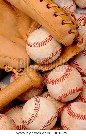 Baseballs Bat And Glove
