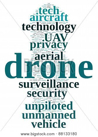 Illustration with word cloud on drone unmanned aerial vehicle. poster