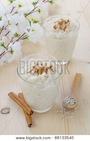 Milk rice pudding desserts in a glass