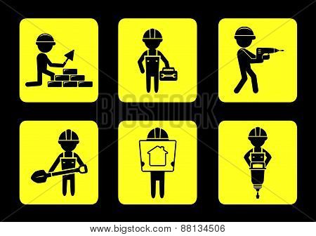 set yellow construction icons with builders